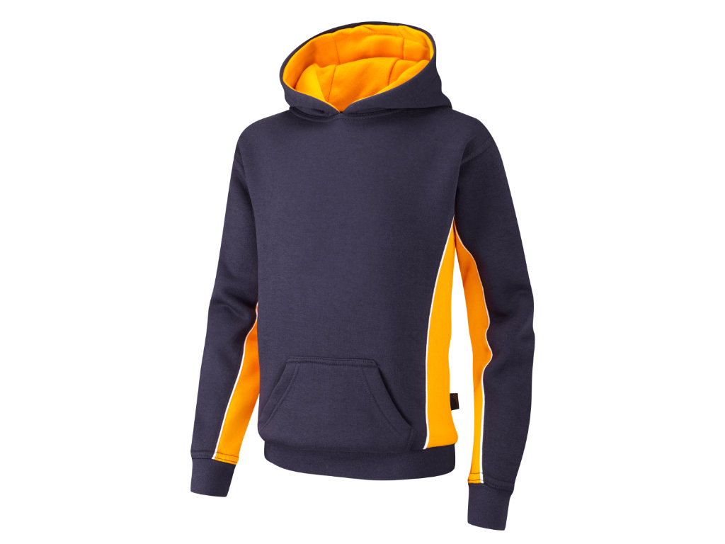 Spirit B550 Navy/Amber/White hooded top